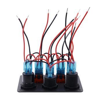 WUPP 5-renkli LED ışıklar Anahtarı Paneli Araba Tekne Rocker Çift QC3.0 Usb Sigara çakmağı Soket Voltmetre Su Geçirmez Devre Kesici
