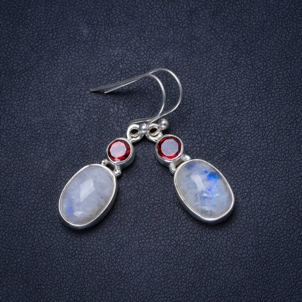 Natural Rainbow Moonstone and Garnet Handmade Unique 925 Sterling Silver Earrings 1.5