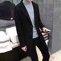 Otoño e invierno manto masculino zanja de medio-largo delgado abrigo masculino engrosamiento de lana de lana de prendas de vestir exteriores