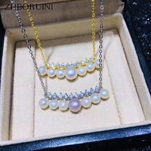 ZHBORUINI Fine Pearl Jewelry Smile Many Pearls Choker Necklace Natural Pendant Chain 925 Sterling Silver For Women