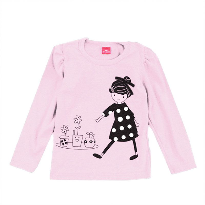 Kids Baby Cotton T-Shirt Cute Girls Tops Crewneck Long Sleeve Shirt
