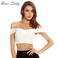 Deer Lady Free Shipping Summer Crop Tops Women 2017 Elastic Sexy White Rayon Bandage Crop Top Off Shoulder Red Black Hot Pink