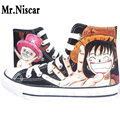 Men Unisex One Piece Hand-Painted Shoes Lace-Up Man Unisex Flat Shoe Anime Luffy Graffiti Painted Male Adults Canvas Shoes