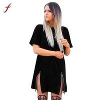 Feitong 2017 Summe WomenDress Fashion Short Sleeve Round Neck Double Zipper Long Shirt Dress Straight Short