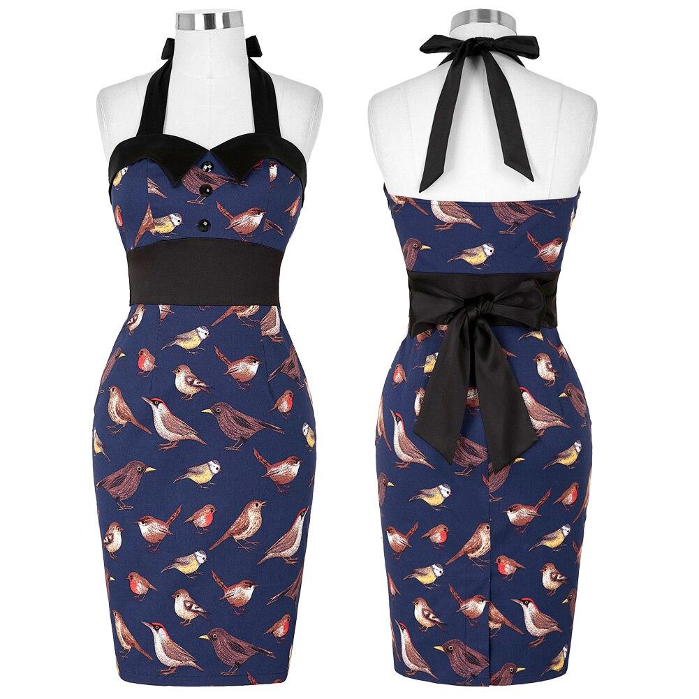 Womens Retro Vintage Birds Pattern Halter Cotton Bodycon Pencil Dress UK 18 New