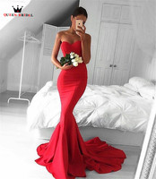 Custom Made High Quality Mermaid Sweetheart Sexy Red Simple Evening Dresses Long Formal Evening Gowns Prom Gowns LE10