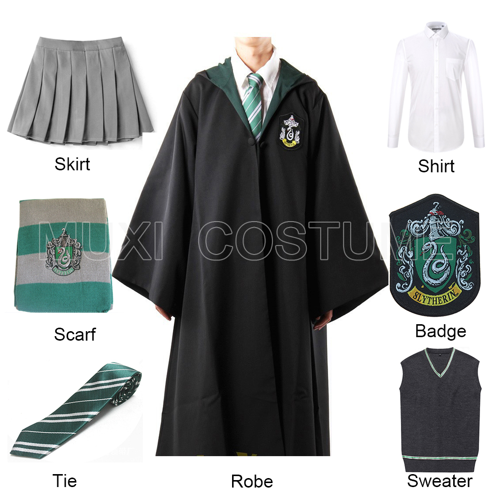 Free Shipping Slytherin Cosplay Robe Cloak Pullover Sweater Shirt Skirt Tie Badge Scarf Harris Costume