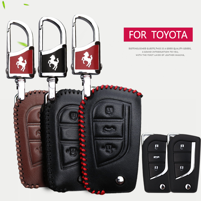 Genuine Leather Car Key Case Cover For Toyota CHR RAV4 Aygo Camry Avensis Yaris Corolla Prius Crown C-hr 2018 Key Accessories
