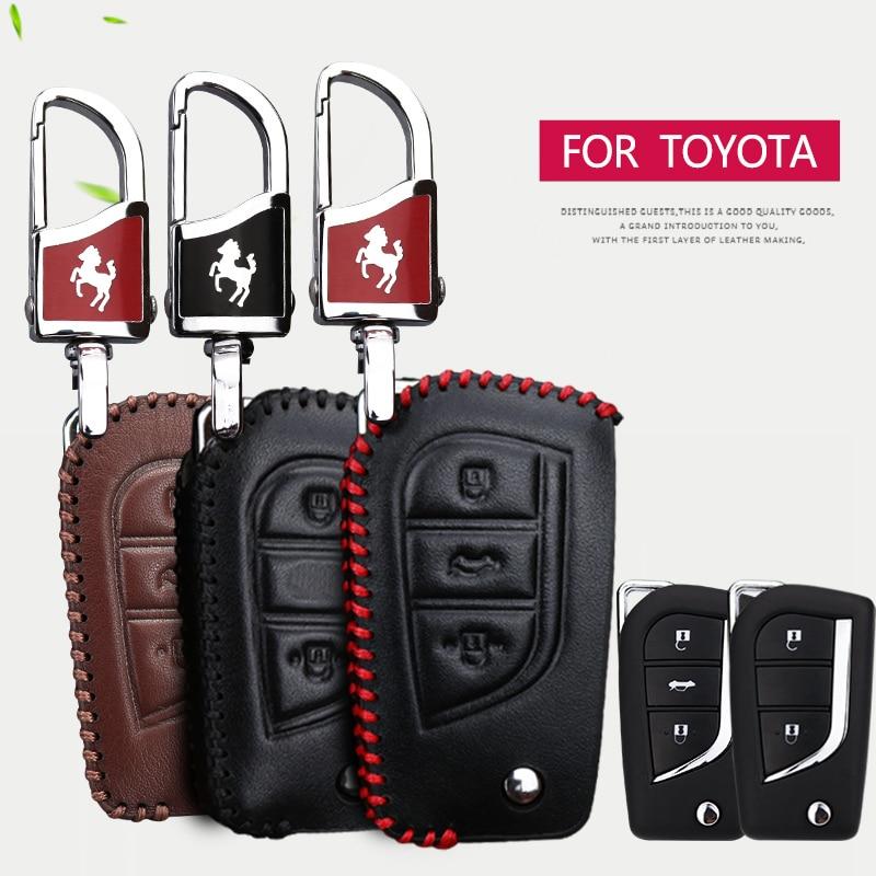 Oriģināls ādas atslēgas korpuss, kas paredzēts Toyota CHR RAV4 Aygo Camry Avensis Yaris Corolla Prius Crown C-hr 2018 Galvenie aksesuāri