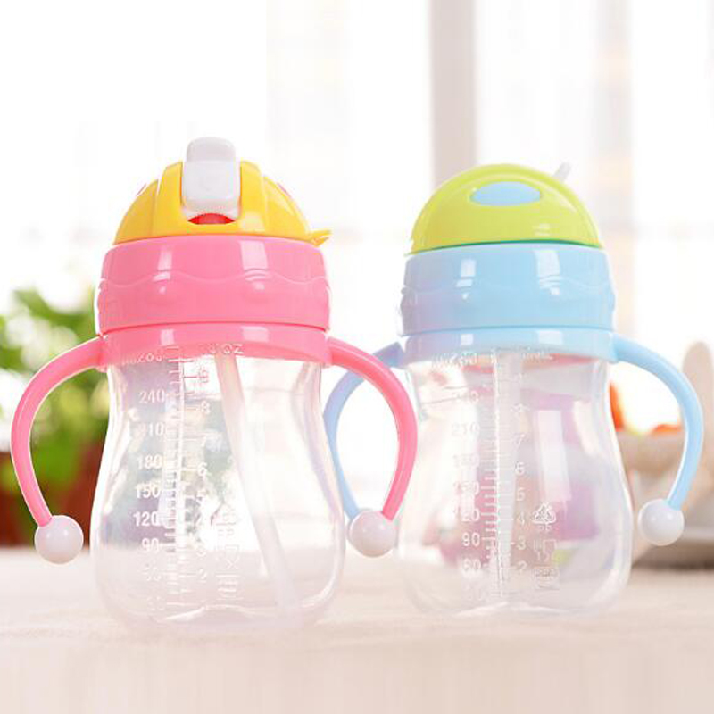 240ml/280ml Baby Water Bottle Cup Kids Children Learn Feeding Drinking Water Straw Handle Bottle Baby Leakproof Drinking Cup