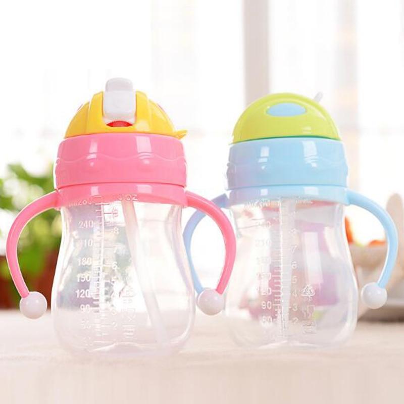 240ml/280ml Baby Water Bottle Cup Kids Children Learn Feeding Drinking Water Straw Handle Bottle Baby Leakproof Drinking Cup