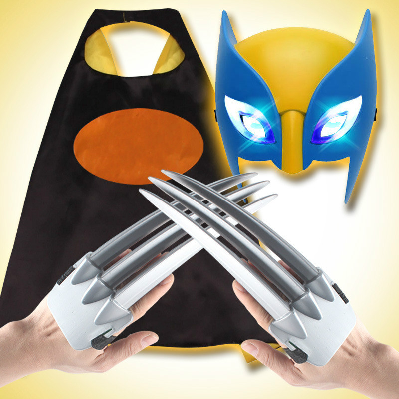 4pcs/set X-men Wolverine Claws ABS Action Figure Toys Logan Claws Plastic Superhero Weapons Mask Cosplay Children Toy