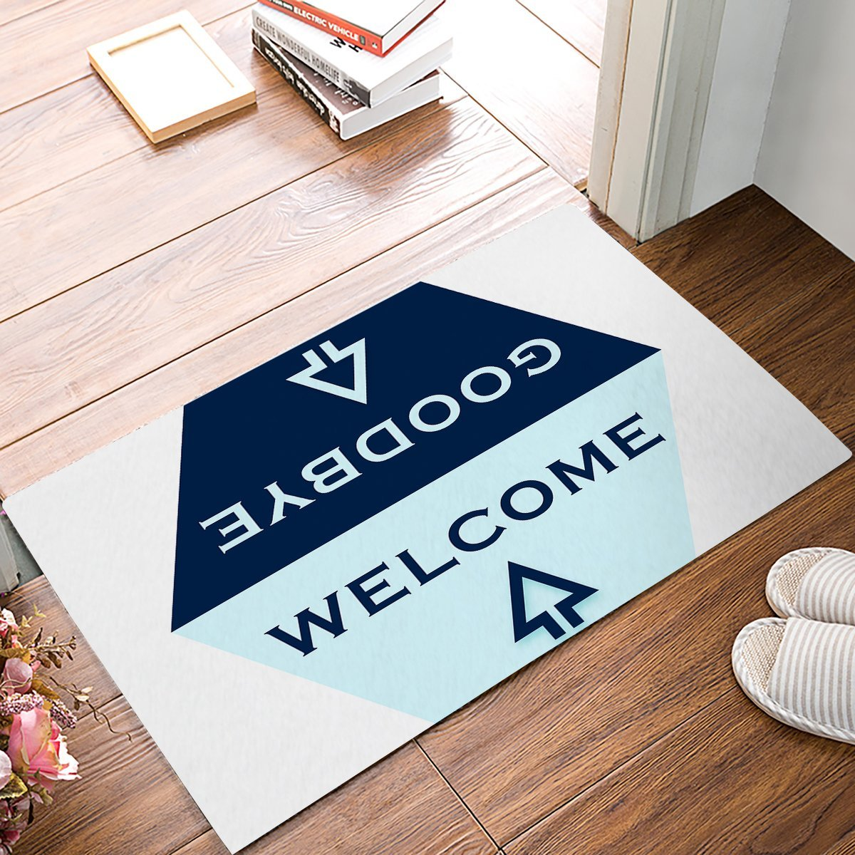 Light Blue And Navy Blue Hexagon Arrow Welcome Goodbye Greetings Pattern Symmetry Door Mats Kitchen Floor Bath Entrance Rug Mat