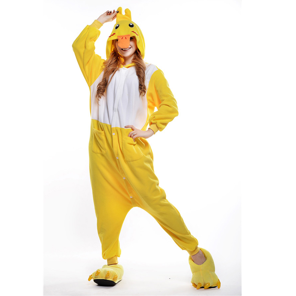 2016 Winter Yellow duckling Homewear Pajamas Soft Cartoon Costume Onesies Pajamas Family disfraz y pijama monstruos sa