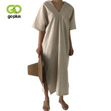 GOPLUS Dress Women Summer Vintage Casual Short Sleeve V-Neck Ankle-Length Split Long Dresses Womens Loose Female C8059
