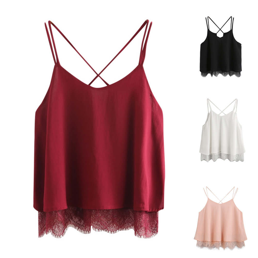 Crop   Top   Women Fashion Chiffon Lace Patchwork Sleeveless   Tank     Top   2019 Summer Female Vest Shirt BlouseTops mujer Cropped 19JAN22