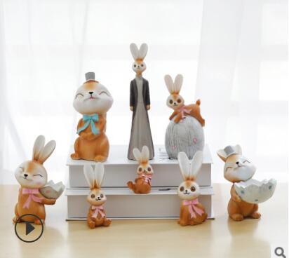 Moka lapin résine décoration de table chambre salon fille coeur monde ambiante accessoires En Gros vente directe d'usine