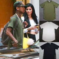 Kanye West Hiphop T-shirt Mode Tyga Gold Side Rits 100% Katoen Swag T-Shirt Bieber Legergroen Zwart Wit Extended Tops