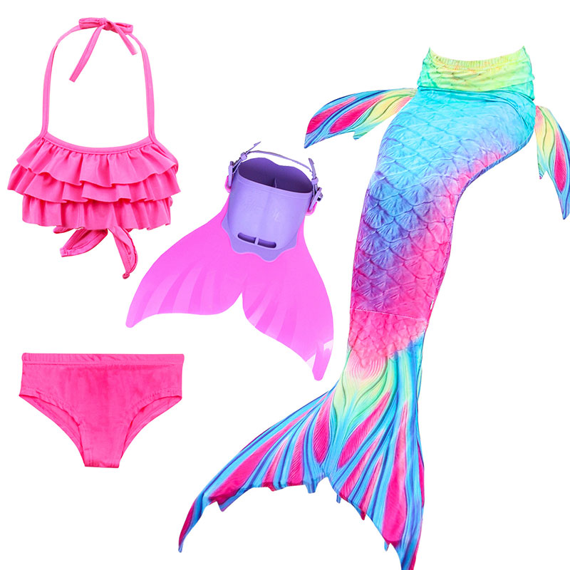 14 Colors Girls Swimming Mermaid Tail with Monofin Bathing Suit Children Ariel the Little Mermaid Tail Costume Kids Swimsuit