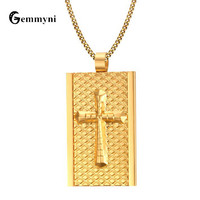 2017 Luxury Gold Cross Necklaces Bible Men Big Chunky Male Pendants Stainless Steel Long Chain Square