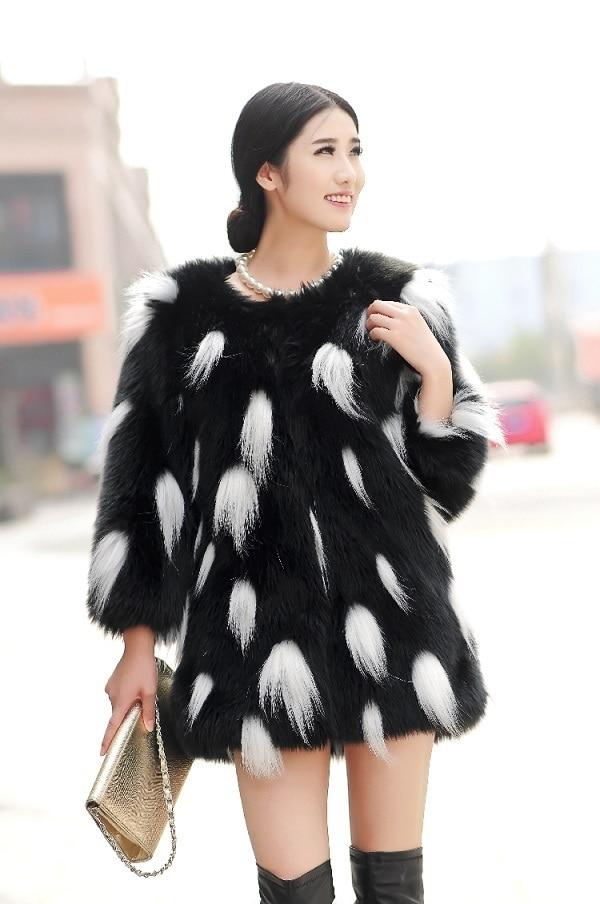 Шуба из лисьего меха пальто средней длины с цветным блочным украшением верхняя одежда из искусственного меха - Цвет: Черный