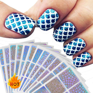 Image 2 - 12 Sheets New Nail Irregular Grid Stencil Reusable Manicure Stickers Stamping Template Nail Art Tools Halloween 9.8