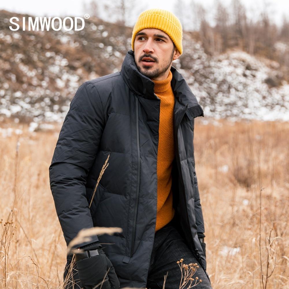 SIMWOOD 2018 Hiver Nouveau 90% Gris Dock Vers Le Bas Manteaux Hommes Mode Slim Fit Vestes Hommes Longueur Haute Qualité Chaud Parka 180295