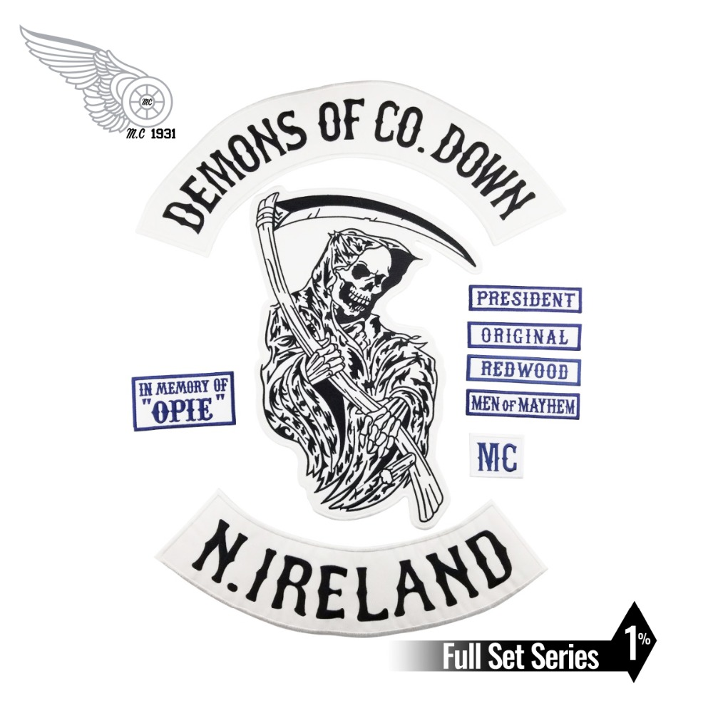 DEMONS OF CO. DOWN MC Embroidered Iron On Sew On Biker Rider Patch Full Back Size Jacket Vest MC Club Patch Free Shipping