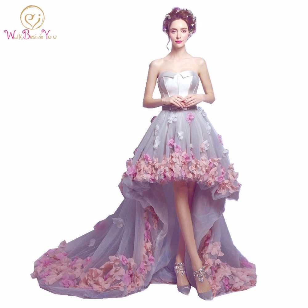2016 Flowers Prom Dresses Short Front Long Back Evening Gowns Gray Organza Fashion Party Formal Gowns