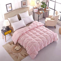 luxury 95% nature white goose down comforter queen king size warm soft cotton cover pink white duvet warm winter quilt home gift