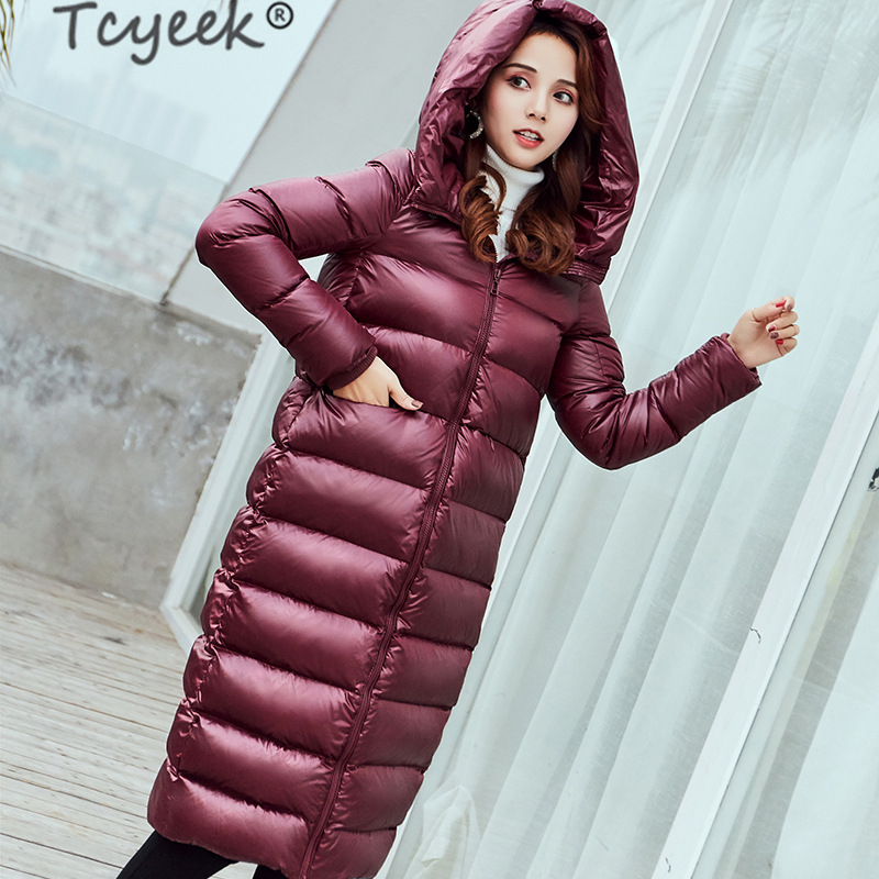 Tcyeek Women's Down Jacket X-Long Winter Coat Female Korean Casual Thick Bright Duck Down Jacket Women Hooded Warm Outwear 1601