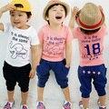 2016 hombres del verano de los niños del niño del bebé elefante Letter Print Short Sleeve T-Shirt conjunto
