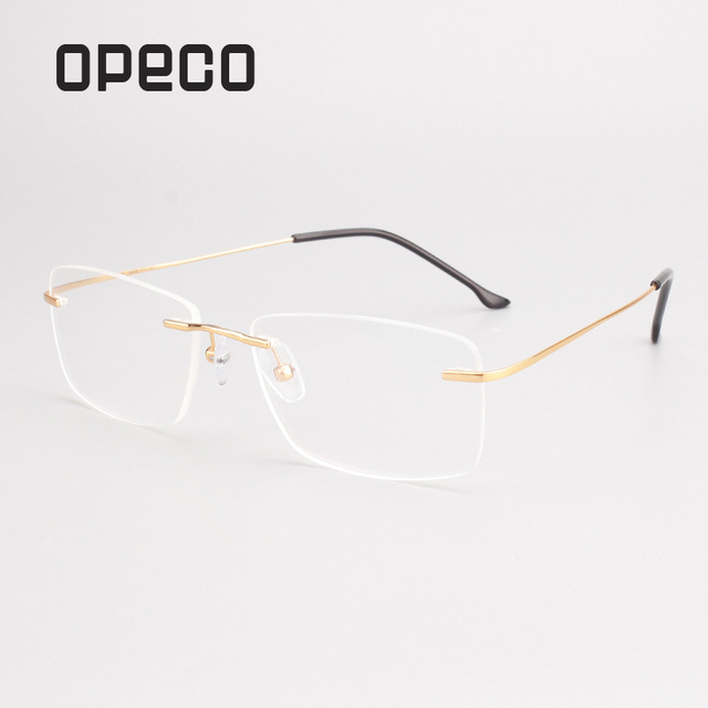 8b01b4098a Opeco men s pure titanium hingeless Rimless eyeglasses including RX lenses  prescription flex eyewear frame spectacles 2870-in Prescription Glasses  from ...