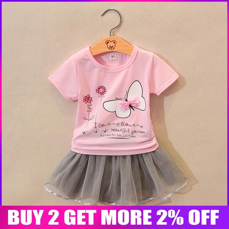 T-Shirt Tracksuits-Sets Clothing-Set Lace-Skirt Girls Kids Cotton Children Fashion Summer