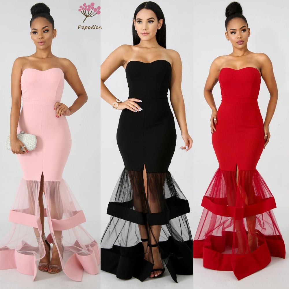 Popodion Mermaid Evening Dress Strapless Evening Dresses Long Formal Dress Robe De Soiree ROM80133(China)