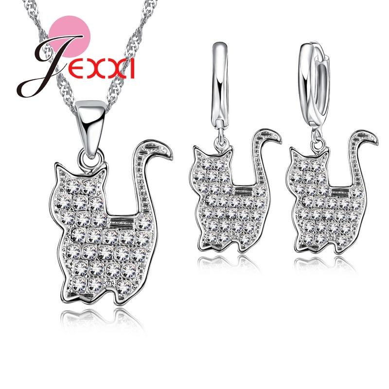 Csodálatos lánc szép perzsa macska medálok 925 Sterling Silve CZ kristály ékszer készlet nyaklánc és fülbevalók nőknek / lányoknak