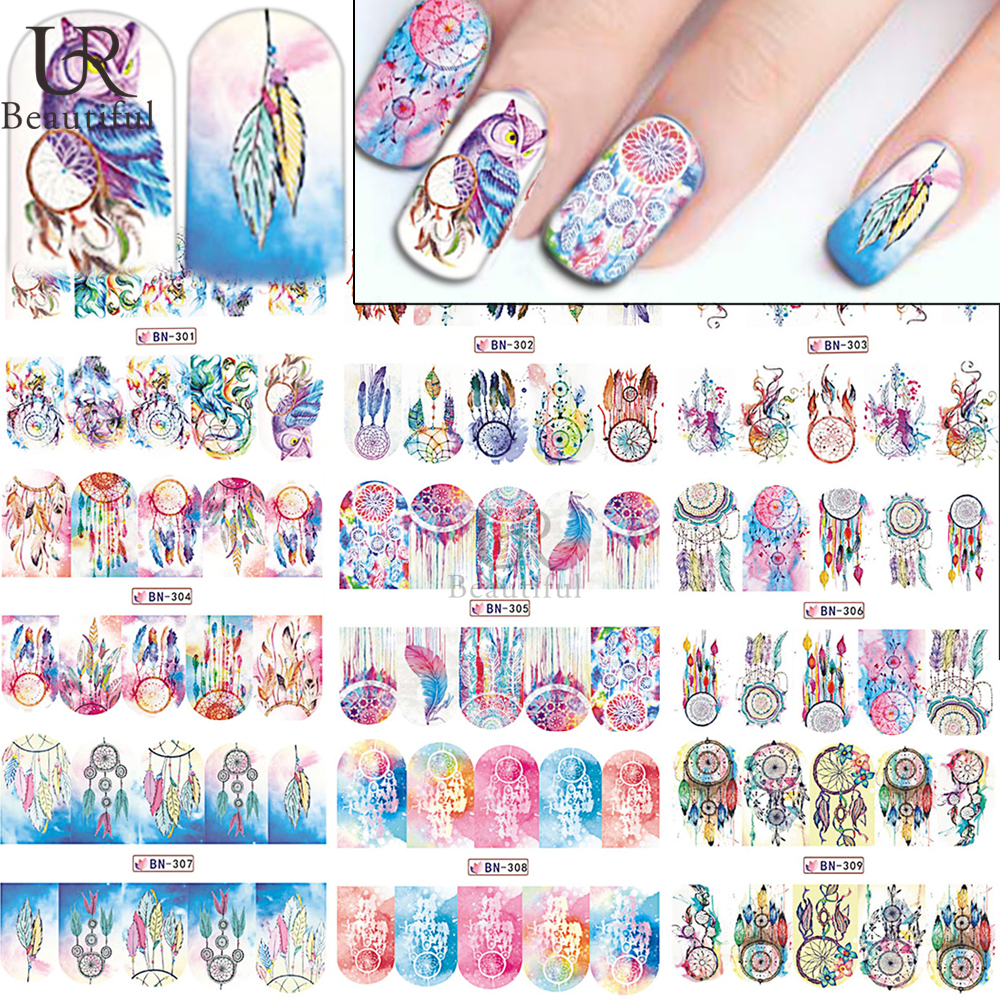 1 Sheets Women Colorful Decals Nail Art Water Transfer Designs Full ...