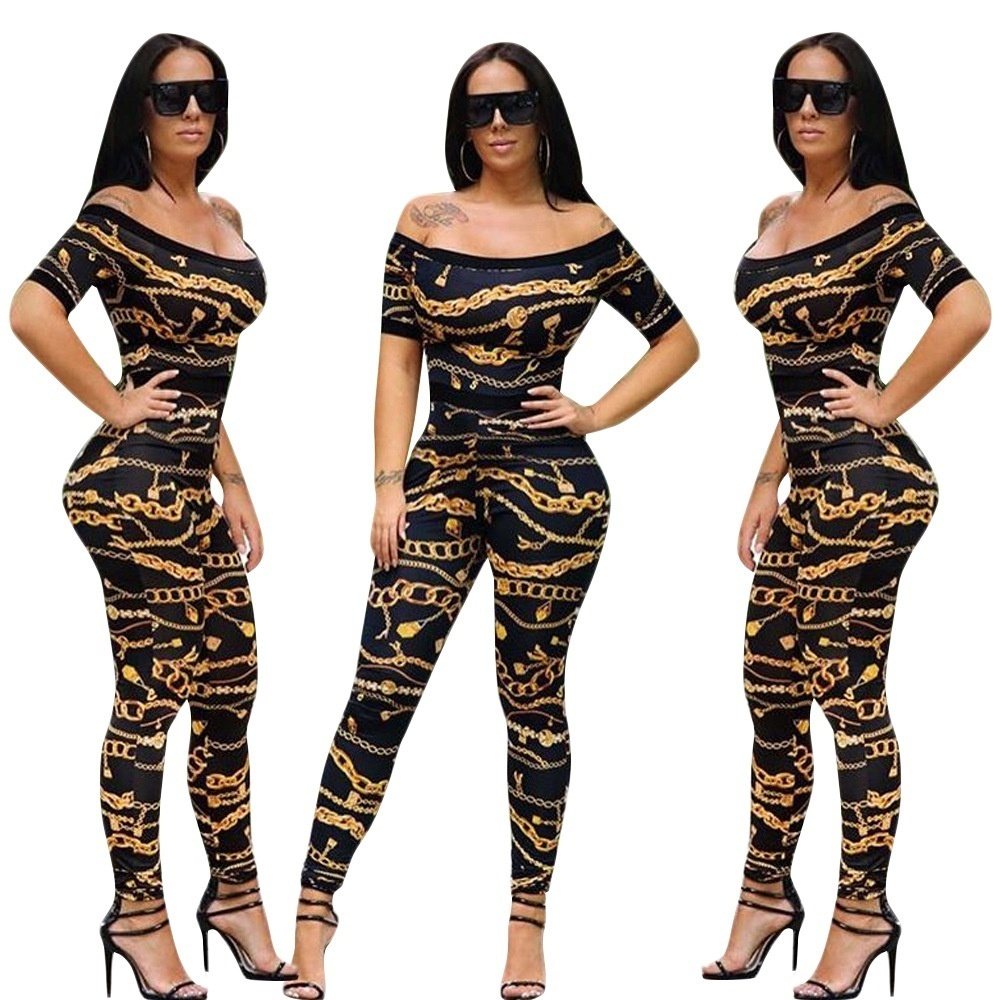 Women Fashion One-shoulder Printed Tight   Jumpsuit   Romper Party Long Playsuit Sexy   Jumpsuit   Kendall Jenner