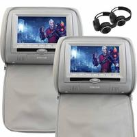 Dual Car DVD Player Screen 7 Inch LCD Headrest Monitor Built In IR FM Transmitter USB