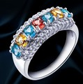 Gemstone ring Natural garnet,citrine,blue topaz 925 stelring silver Free shipping 0.2ct*7pcs gems For men or women