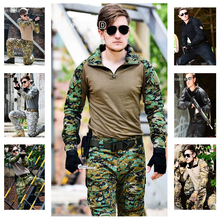 Military Tactical Army Uniform With Knee Pads Jacket+Pants Suit Clothing Camouflage Sets Outdoor Hunting Combat Airsoft Uniform недорого