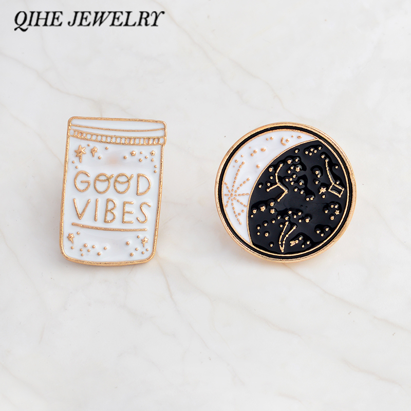 QIHE JEWELRY 2pcs/set pin set Good vibes enamel lapel pin Constellation pin Moon phase badges Good vibes only jewelry