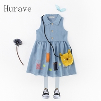 Hurave 2017 Summer Girls Dress Cowboy Robe Fill Toddler Clothing Sleeveless Cartoon Girl Clothing