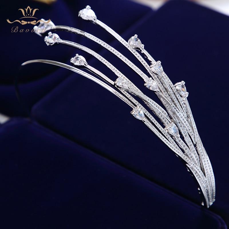 High end Shinny Irregular Zircon Crystal Brides Tiara Crowns Sliver Bridal Hair bands Headpieces Wedding Hair