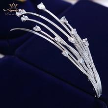 High end Shinny Irregular Zircon Crystal Brides Tiara Crowns Sliver Bridal Hair bands Headpieces Wedding Hair Accessories