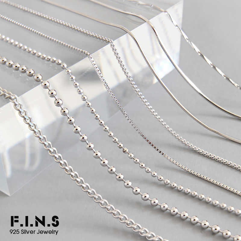 F.I.N.S 8 Styles 925 Sterling Silver Necklace Melon Seeds Chain Bead Chain 45cm Box Chain Long Necklace Silver 925