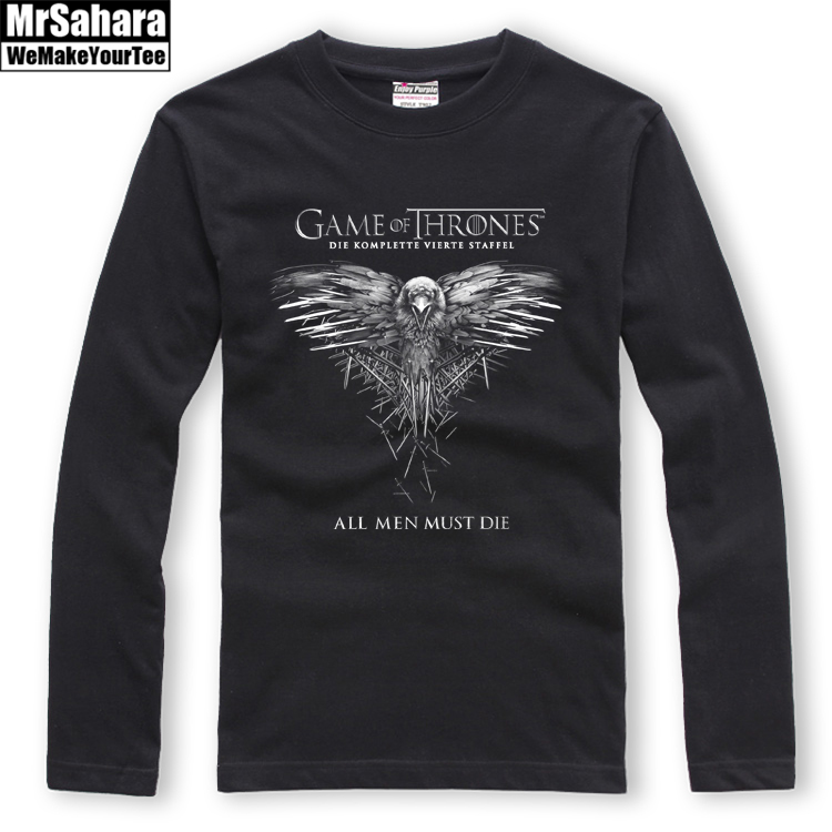 US Power Play Ice and Fire Song Three Crow Cotton Long-sleeved T-shirt Autumn and Winter