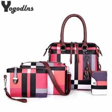 Conjunto de 4 bolsos de lujo a cuadros para mujer, conjunto de 4 bolsos con borla de diseñador, bandolera compuesta