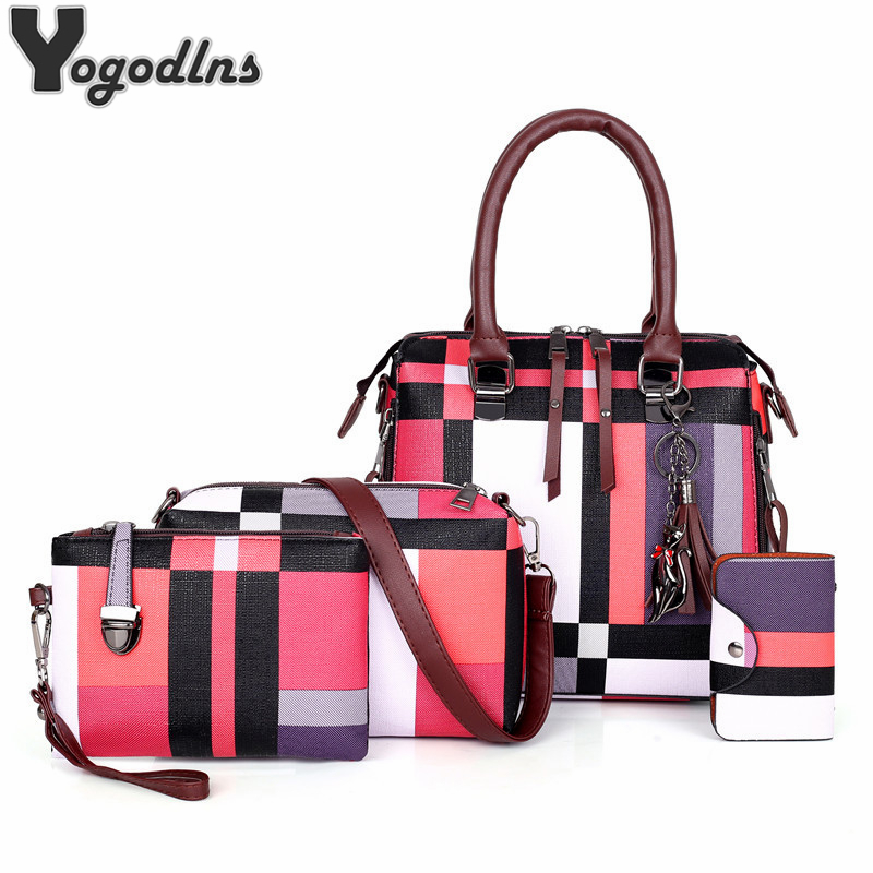 Luxury Handbags Plaid Women Bags Designer 2019 Tassel Purses Handbags Set 4 Pieces Bags Composite Clutch Female Bolsa Feminina
