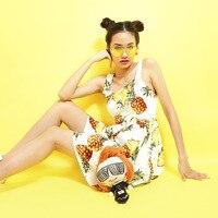 2017 Runway Designer Summer Dress Women Elegant Front Button Fruit Pineapple Printed Spaghetti Strap Party Dress